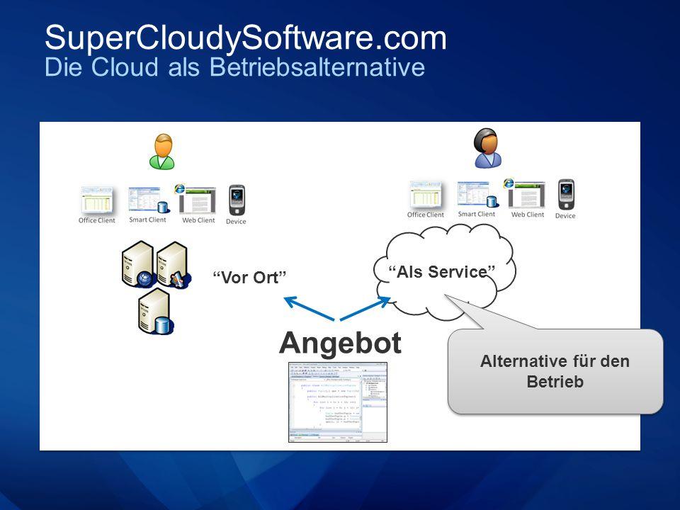 SuperCloudySoftware.com Die Cloud als Betriebsalternative Angebot Als Service Vor Ort Alternative für den Betrieb