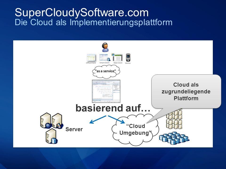 SuperCloudySoftware.com Die Cloud als Implementierungsplattform basierend auf… Server Cloud Umgebung Cloud als zugrundeliegende Plattform