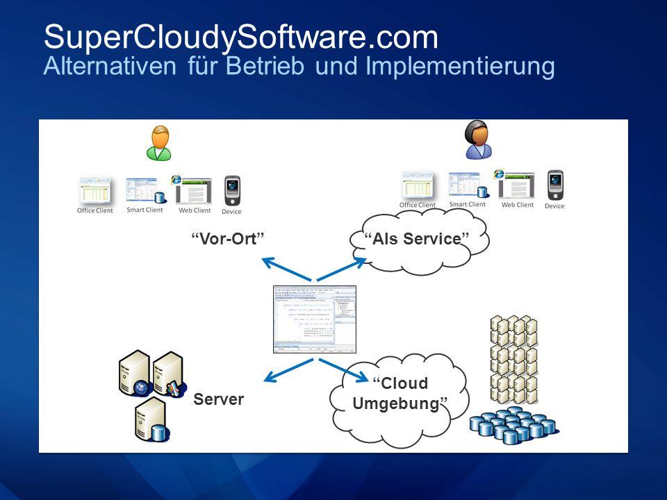 SuperCloudySoftware.com Alternativen für Betrieb und Implementierung Server Cloud Umgebung Als Service Vor-Ort