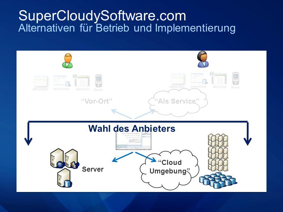 SuperCloudySoftware.com Alternativen für Betrieb und Implementierung Server Cloud Umgebung Als Service Vor-Ort Wahl des Anbieters