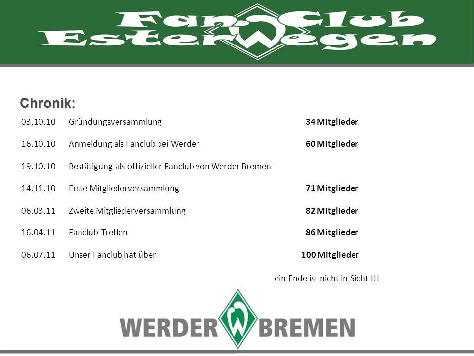 Chronik: 03.10.10Gründungsversammlung 34 Mitglieder 16.10.10 Anmeldung als Fanclub bei Werder 60 Mitglieder 19.10.10 Bestätigung als offizieller Fancl