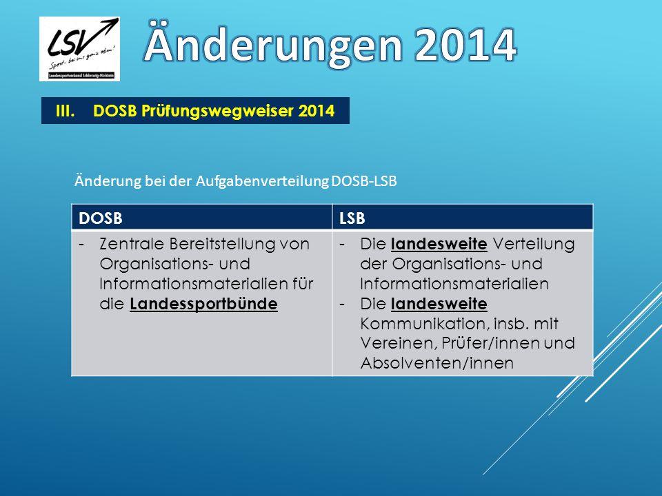 III.DOSB Prüfungswegweiser 2014 Änderung bei der Aufgabenverteilung DOSB-LSB DOSBLSB -Zentrale Bereitstellung von Organisations- und Informationsmater
