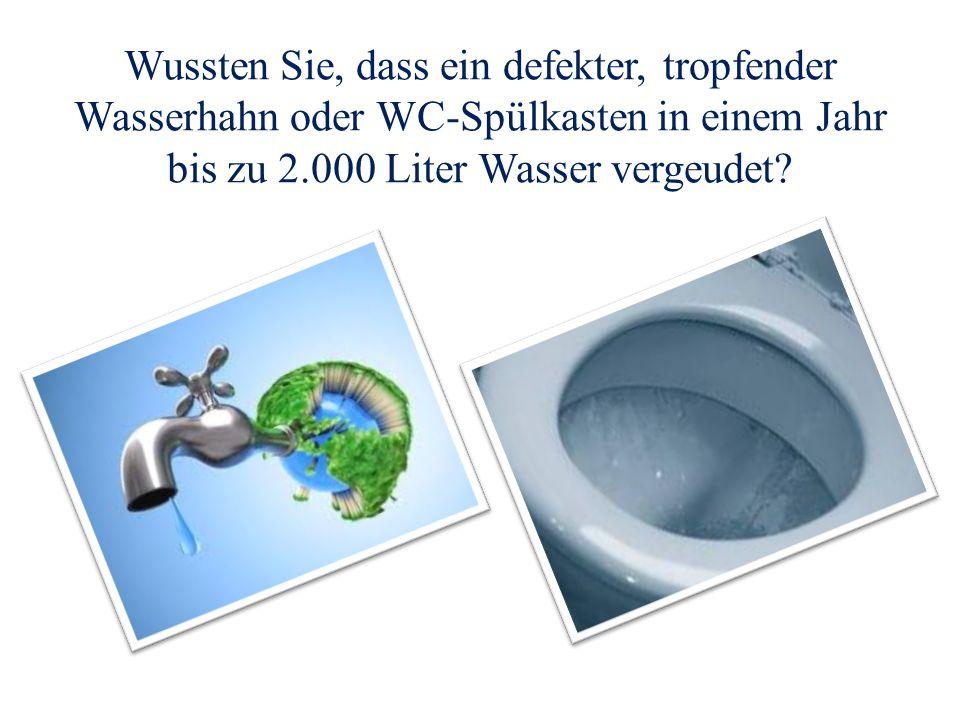 Wussten Sie, dass ein defekter, tropfender Wasserhahn oder WC-Spülkasten in einem Jahr bis zu 2.000 Liter Wasser vergeudet?
