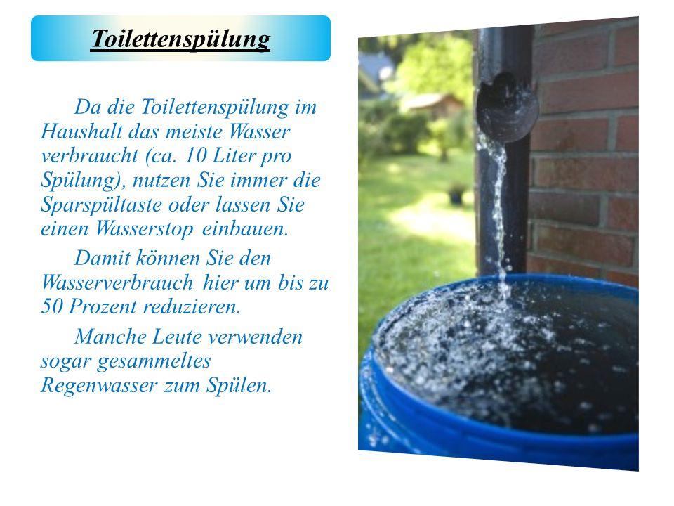 Da die Toilettenspülung im Haushalt das meiste Wasser verbraucht (ca. 10 Liter pro Spülung), nutzen Sie immer die Sparspültaste oder lassen Sie einen