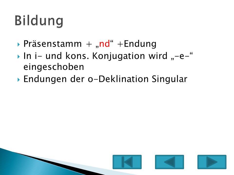 Präsenstamm + nd +Endung In i- und kons. Konjugation wird -e- eingeschoben Endungen der o-Deklination Singular