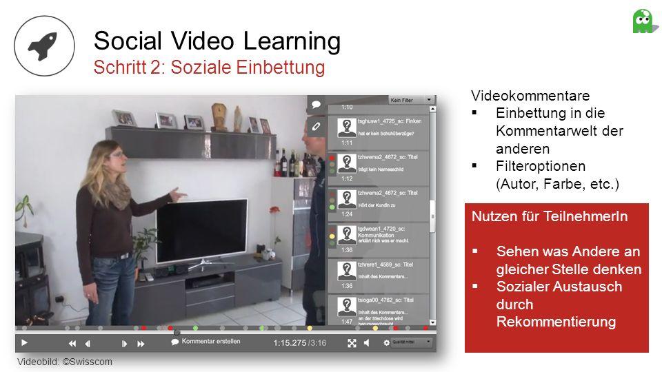 Videokommentare Einbettung in die Kommentarwelt der anderen Filteroptionen (Autor, Farbe, etc.) Social Video Learning Schritt 2: Soziale Einbettung Vi