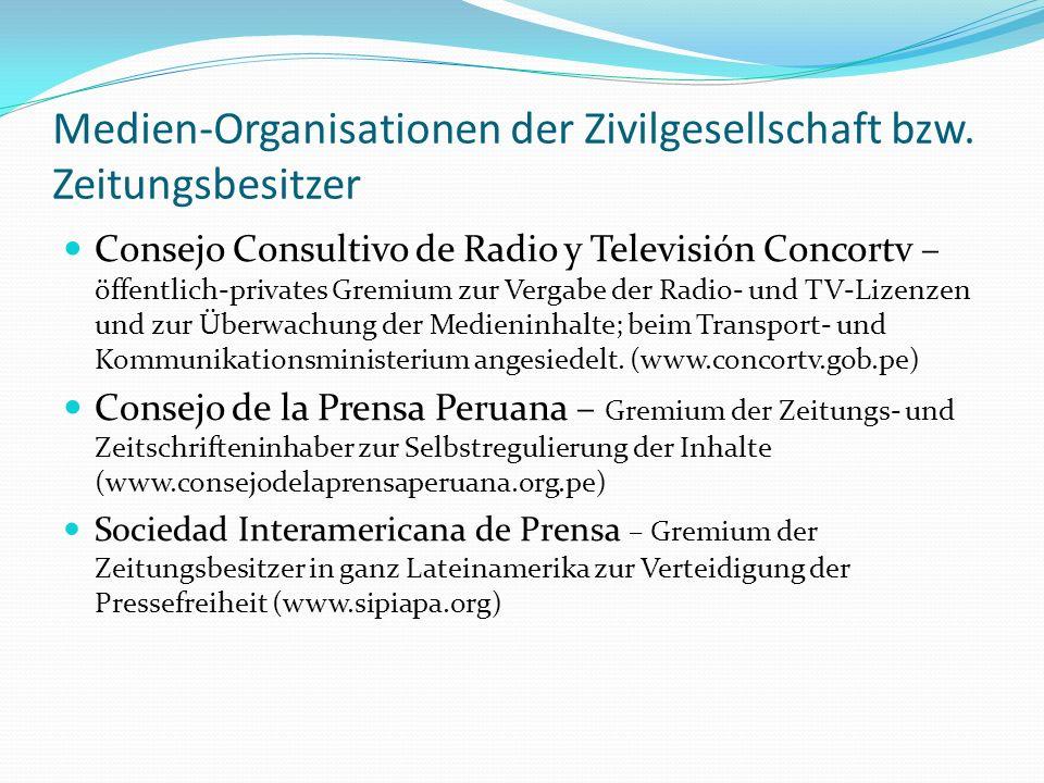 Medien-Organisationen der Zivilgesellschaft bzw. Zeitungsbesitzer Consejo Consultivo de Radio y Televisión Concortv – öffentlich-privates Gremium zur