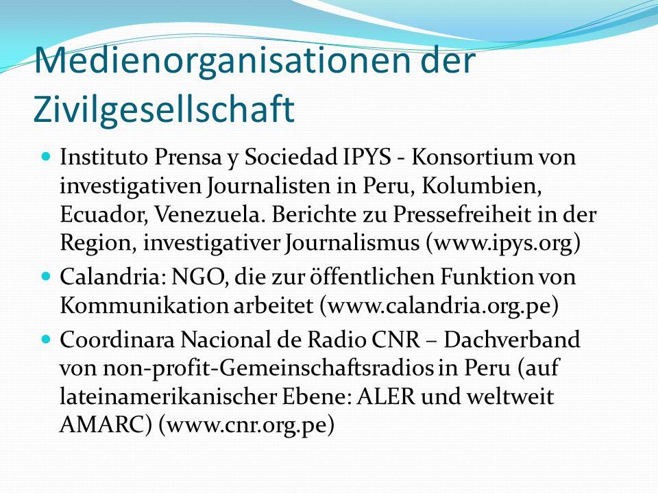 Medienorganisationen der Zivilgesellschaft Instituto Prensa y Sociedad IPYS - Konsortium von investigativen Journalisten in Peru, Kolumbien, Ecuador,