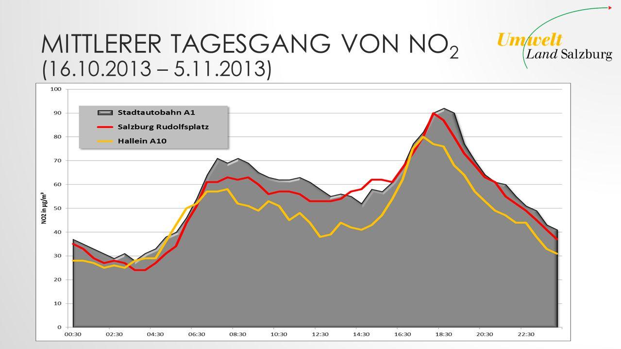MITTLERER TAGESGANG VON NO 2 (16.10.2013 – 5.11.2013)