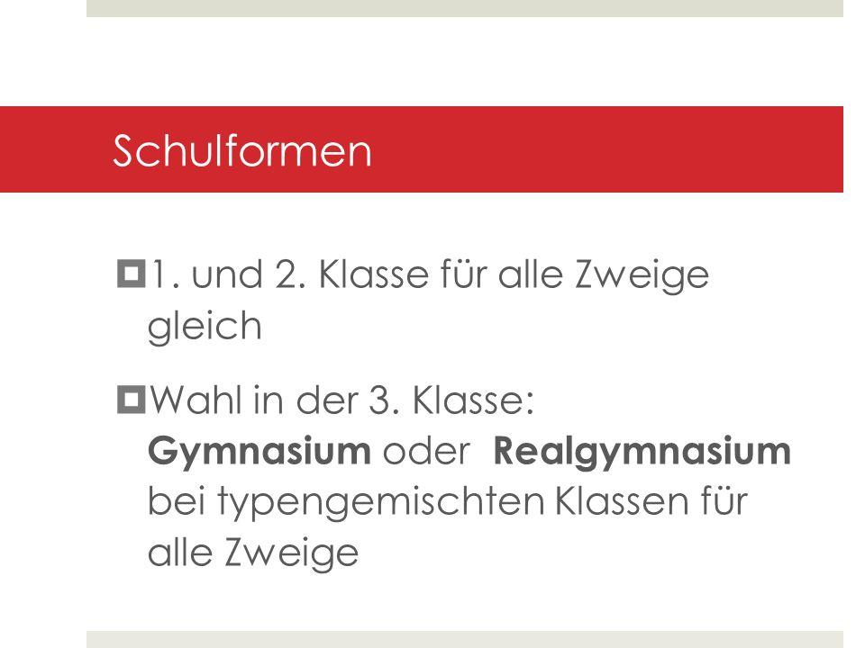 Stundentafeln je nach Zweig (Standard/ Musik / Multimedia) und Schulform (Gymnasium / Realgymnasium) unterschiedlich