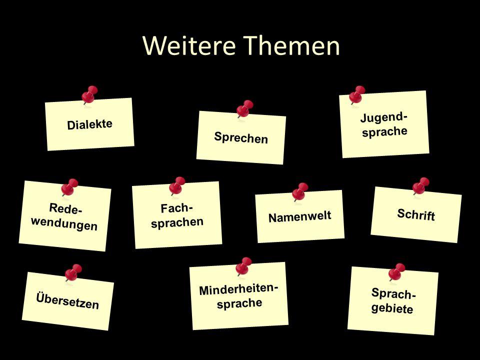 Weitere Themen Dialekte Sprechen Jugend- sprache Sprach- gebiete Übersetzen Minderheiten- sprache Fach- sprachen Namenwelt Schrift Rede- wendungen