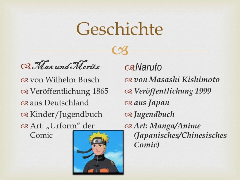 Geschichte Max und Moritz von Wilhelm Busch Veröffentlichung 1865 aus Deutschland Kinder/Jugendbuch Art: Urform der Comic Naruto von Masashi Kishimoto