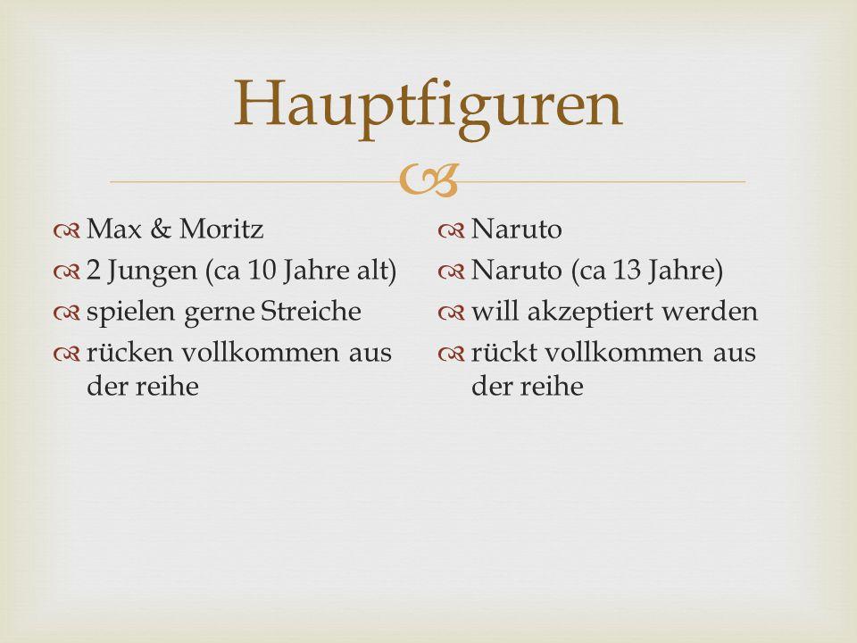 Hauptfiguren Max & Moritz 2 Jungen (ca 10 Jahre alt) spielen gerne Streiche rücken vollkommen aus der reihe Naruto Naruto (ca 13 Jahre) will akzeptier