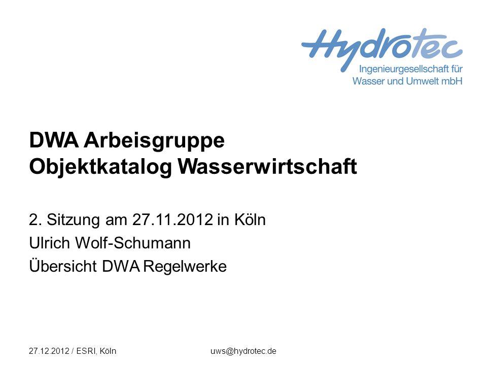 Gesamtliste und Titelübersicht 27.12.2012 / ESRI, Kölnuws@hydrotec.de2 Gesamtliste (297 Einträg, 17 S.) I.