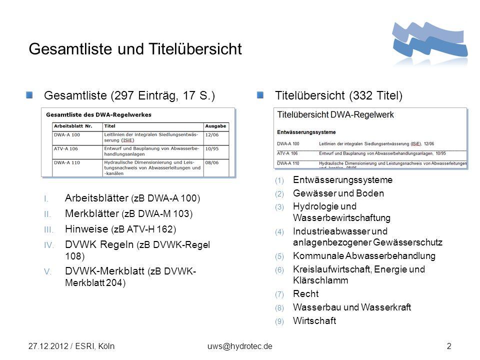 DWA Regelwerk : CD und Suchfunktion 27.12.2012 / ESRI, Kölnuws@hydrotec.de3