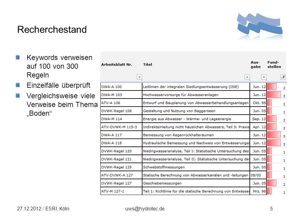 Recherchestand 27.12.2012 / ESRI, Kölnuws@hydrotec.de5 Keywords verweisen auf 100 von 300 Regeln Einzelfälle überprüft Vergleichsweise viele Verweise beim Thema Boden