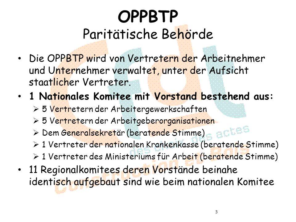 OPPBTP Paritätische Behörde Die OPPBTP wird von Vertretern der Arbeitnehmer und Unternehmer verwaltet, unter der Aufsicht staatlicher Vertreter.