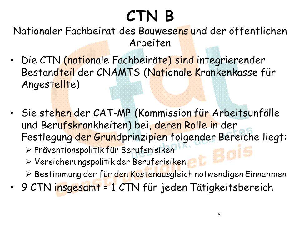 CTN B Nationaler Fachbeirat des Bauwesens und der öffentlichen Arbeiten Die CTN (nationale Fachbeiräte) sind integrierender Bestandteil der CNAMTS (Nationale Krankenkasse für Angestellte) Sie stehen der CAT-MP (Kommission für Arbeitsunfälle und Berufskrankheiten) bei, deren Rolle in der Festlegung der Grundprinzipien folgender Bereiche liegt: Präventionspolitik für Berufsrisiken Versicherungspolitik der Berufsrisiken Bestimmung der für den Kostenausgleich notwendigen Einnahmen 9 CTN insgesamt = 1 CTN für jeden Tätigkeitsbereich 5