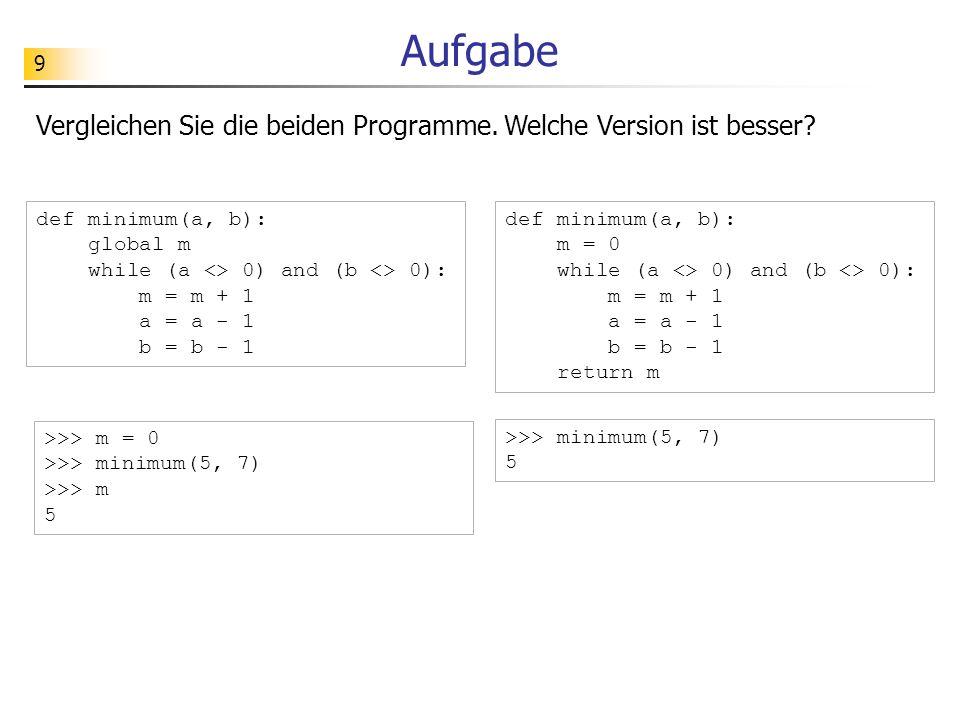 20 Funktionales Programm verschluesseln (2102, 3000) [2221, 1107, 1010, 2126] [119, 2005, 1809, 24] Spezifikation: schluessel zahlenListe Implementierung: def verschluesseln(zahlenListe, schluessel): if len(zahlenListe) == 0: return [] else: return [verschluesselnZahl(zahlenListe[0], schluessel)] + verschluesseln(zahlenListe[1:], schluessel) Verschlüsselung: öffentlicher Schlüssel (d, m) = (2102, 3000) z (z + d) % m0119#2005#1809#24 2221#1107#1010#2126 Bed.: z maxCode