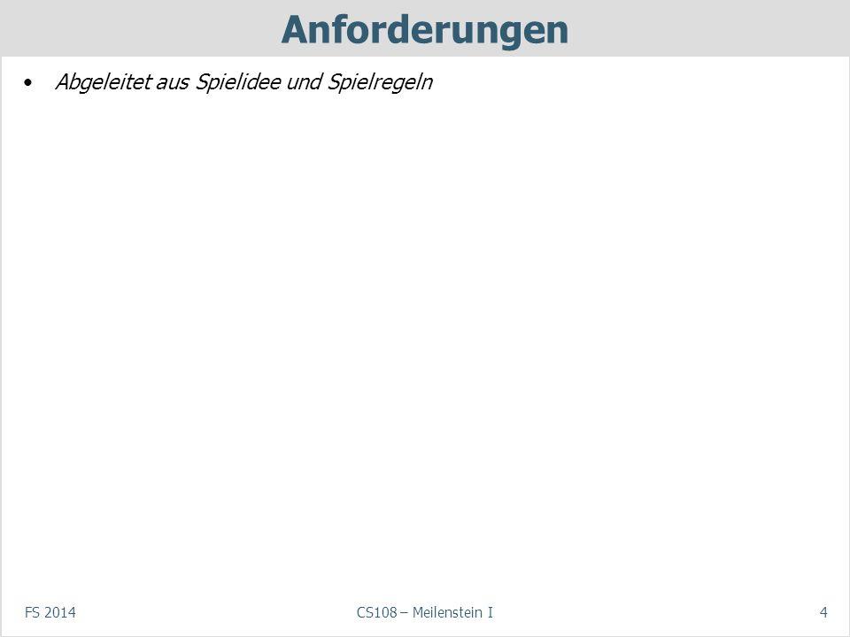 FS 2014CS108 – Meilenstein I4 Anforderungen Abgeleitet aus Spielidee und Spielregeln