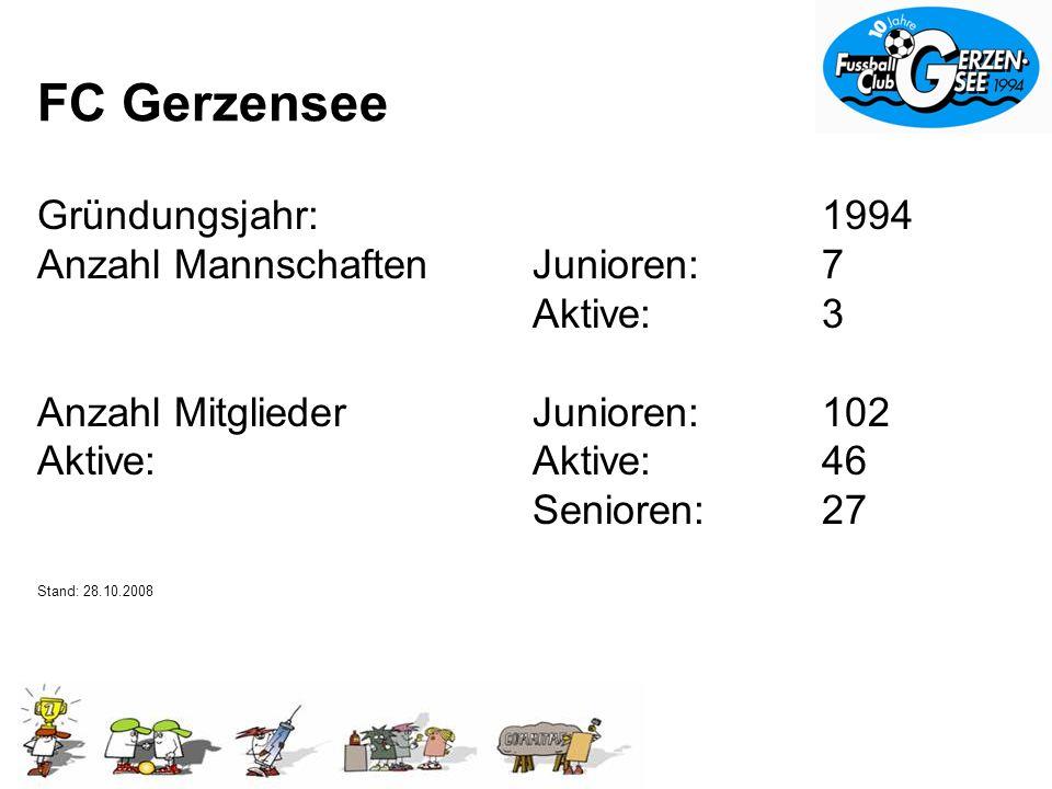 FC Gerzensee Gründungsjahr:1994 Anzahl MannschaftenJunioren: 7 Aktive:3 Anzahl MitgliederJunioren:102 Aktive:Aktive:46 Senioren: 27 Stand: 28.10.2008