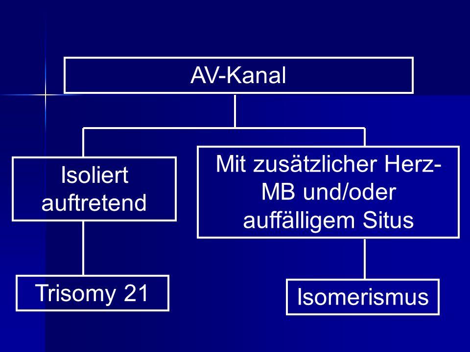 AV-Kanal Isoliert auftretend Mit zusätzlicher Herz- MB und/oder auffälligem Situs Trisomy 21 Isomerismus