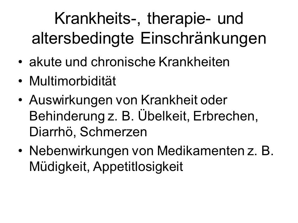 Krankheits-, therapie- und altersbedingte Einschränkungen akute und chronische Krankheiten Multimorbidität Auswirkungen von Krankheit oder Behinderung