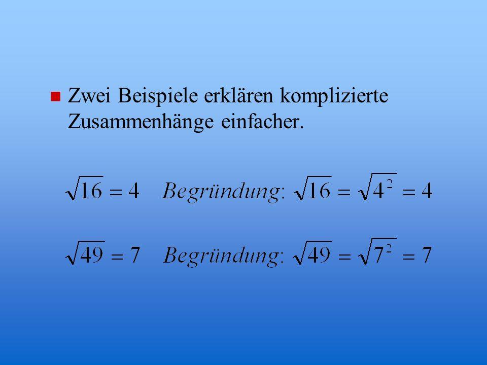 Definition n Die Quadratwurzel einer positiven Zahl b ist die positive Zahl a, die mit sich selbst multipliziert b ergibt: n Die Zahl unter dem Wurzel