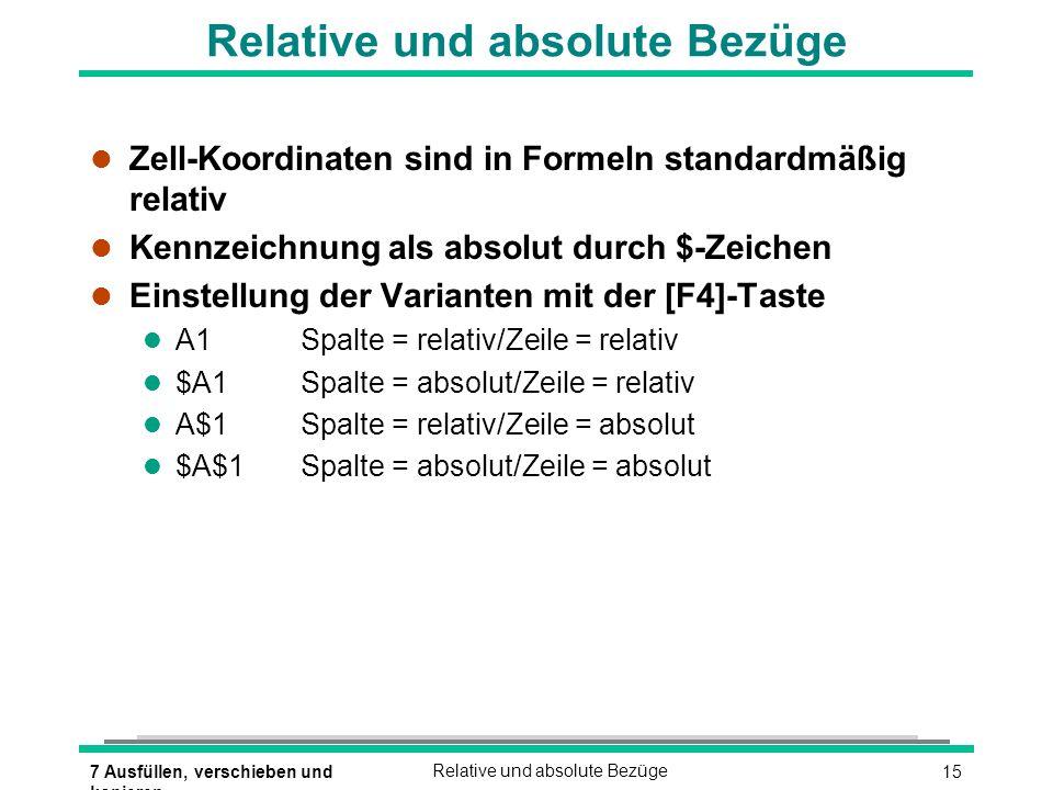 157 Ausfüllen, verschieben und kopieren Relative und absolute Bezüge l Zell-Koordinaten sind in Formeln standardmäßig relativ l Kennzeichnung als abso