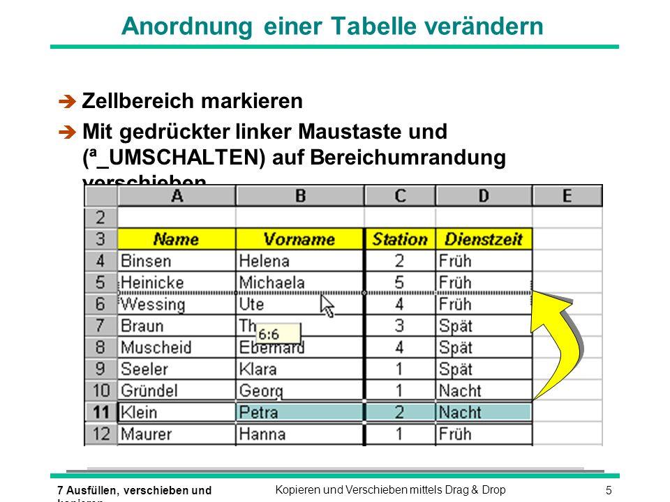 57 Ausfüllen, verschieben und kopieren Kopieren und Verschieben mittels Drag & Drop Anordnung einer Tabelle verändern è Zellbereich markieren Mit gedr