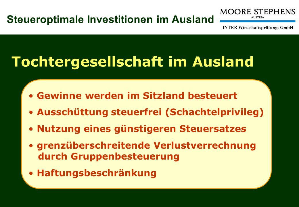 Steueroptimale Investitionen im Ausland INTER Wirtschaftsprüfungs GmbH Tochtergesellschaft im Ausland Gewinne werden im Sitzland besteuert Ausschüttun