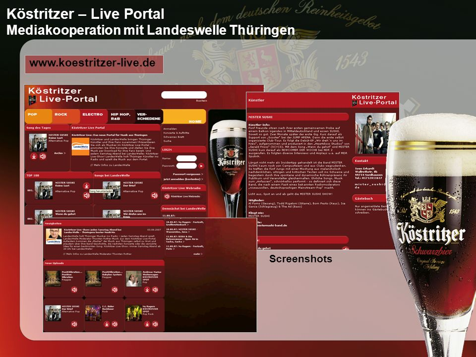Köstritzer – Live Portal Mediakooperation mit Landeswelle Thüringen www.koestritzer-live.de Screenshots