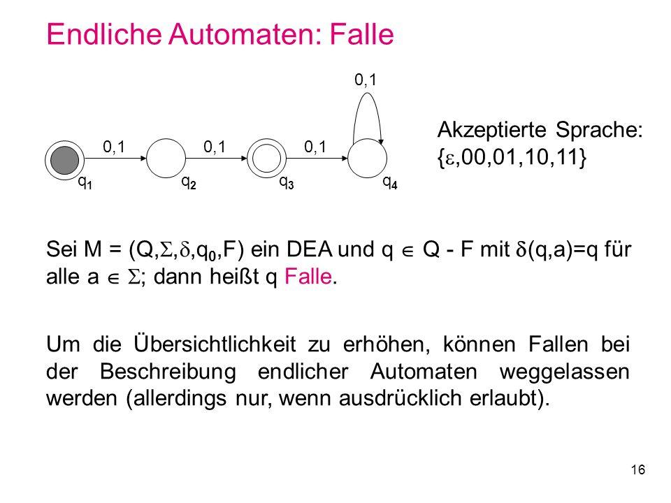 16 Endliche Automaten: Falle Sei M = (Q,,,q 0,F) ein DEA und q Q - F mit (q,a)=q für alle a ; dann heißt q Falle. Um die Übersichtlichkeit zu erhöhen,
