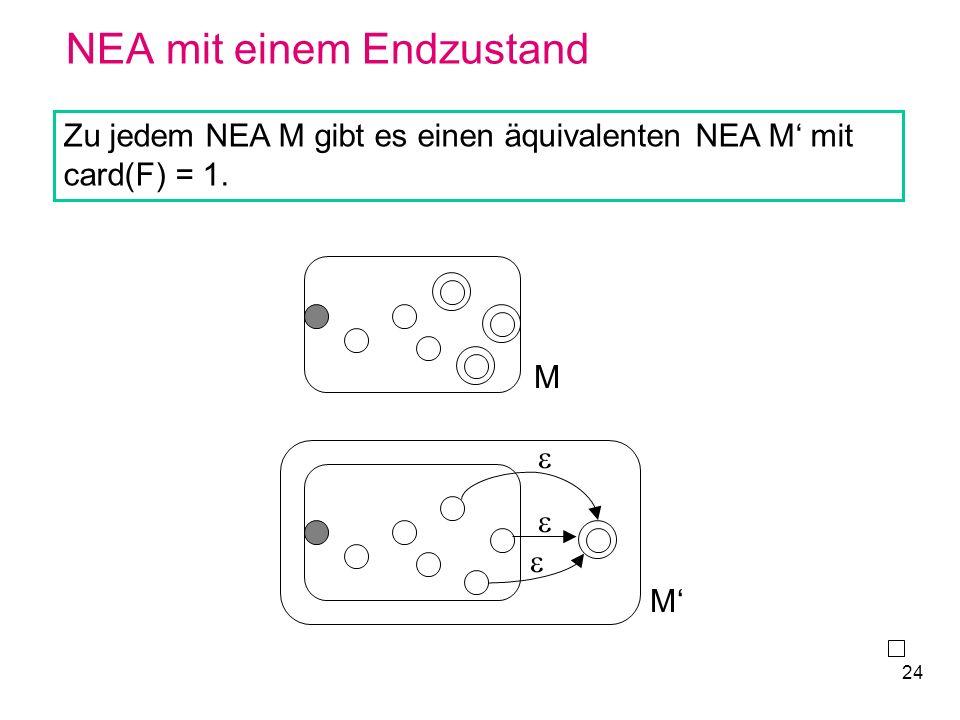 24 NEA mit einem Endzustand Zu jedem NEA M gibt es einen äquivalenten NEA M mit card(F) = 1. M M