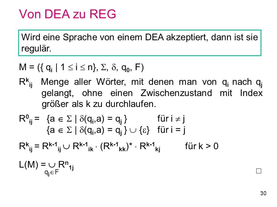 30 Von DEA zu REG Wird eine Sprache von einem DEA akzeptiert, dann ist sie regulär. M = ({ q i | 1 i n},,, q 0, F) R k ij Menge aller Wörter, mit dene