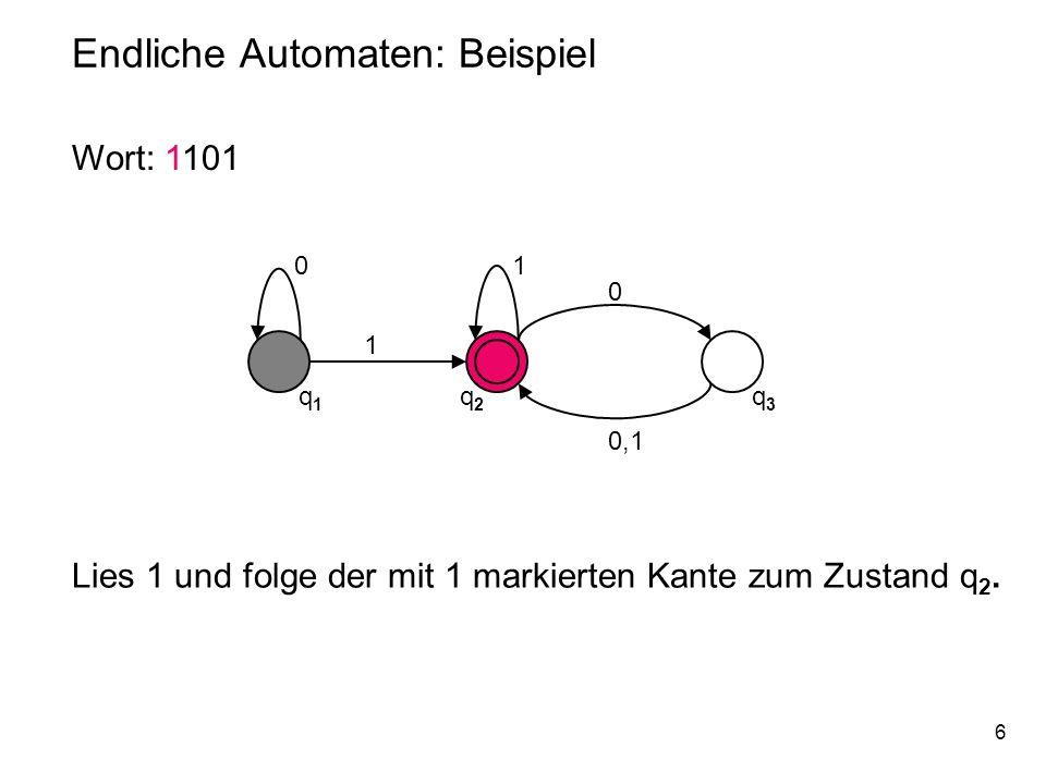 6 Endliche Automaten: Beispiel 0 q1q1 q2q2 q3q3 1 1 0 0,1 Wort: 1101 Lies 1 und folge der mit 1 markierten Kante zum Zustand q 2.