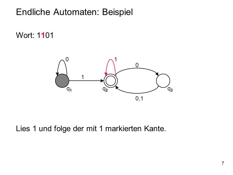 18 Endliche Automaten: Beispiel 0 q1q1 q2q2 q3q3 1 1 0 0,1 M = (Q,,, q 1, F) mit Q = { q 1, q 2, q 3 }, = { 0,1 }, (gegeben durch die Übergangsmatrix), q 1 Startzustand, F = {q 2 }.