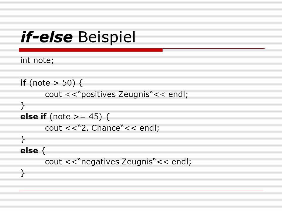 Die switch Verzweigung switch (Ausdruck) { case Konstante1:Anweisungen ; break ; case Konstante2:Anweisungen ; break ; case Konstante3:Anweisungen ; break ; case Konstante4:Anweisungen ; break ; default: Anweisung ; }
