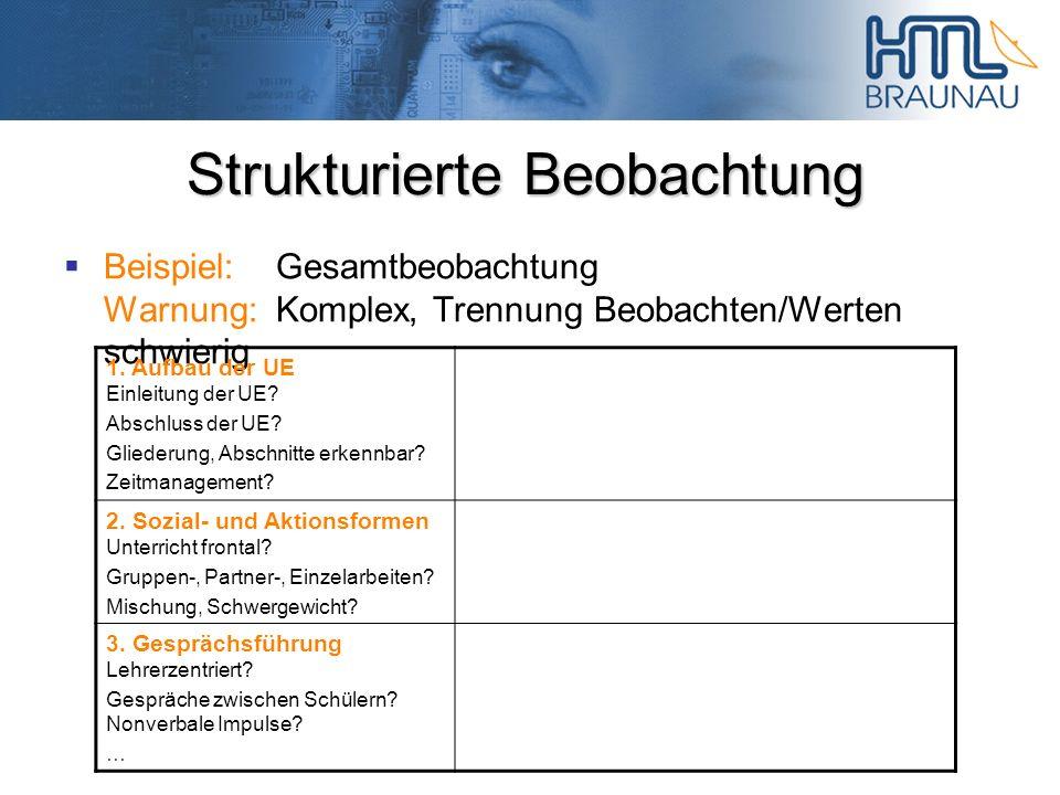 Strukturierte Beobachtung Beispiel:Gesamtbeobachtung Warnung:Komplex, Trennung Beobachten/Werten schwierig 1. Aufbau der UE Einleitung der UE? Abschlu