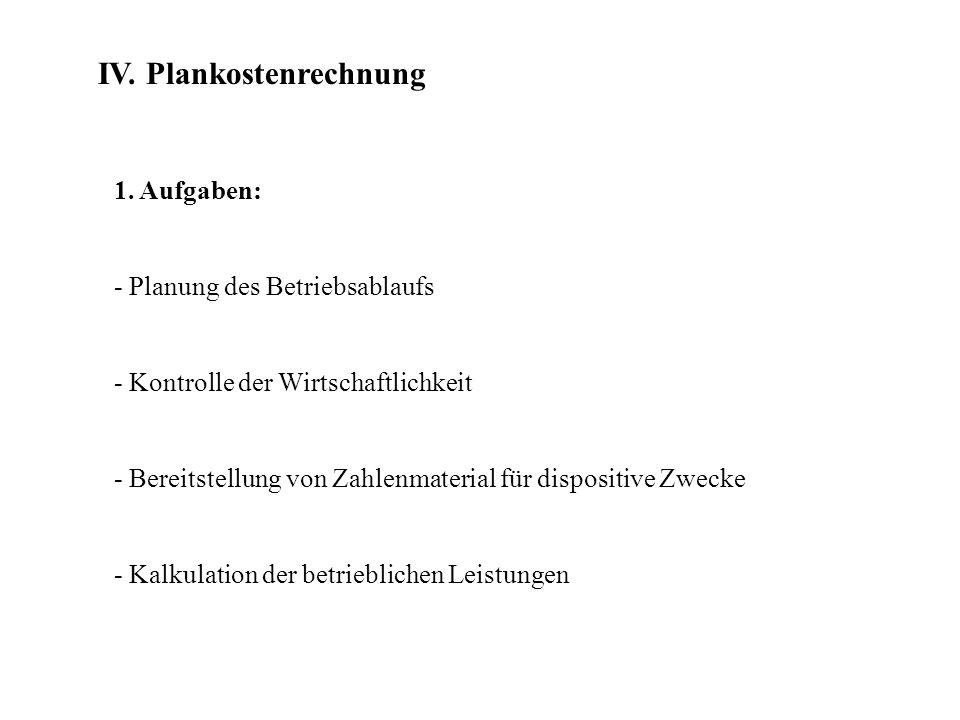 IV. Plankostenrechnung 1. Aufgaben: - Planung des Betriebsablaufs - Kontrolle der Wirtschaftlichkeit - Bereitstellung von Zahlenmaterial für dispositi