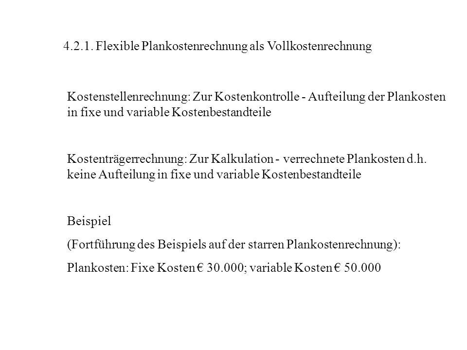 4.2.1. Flexible Plankostenrechnung als Vollkostenrechnung Kostenstellenrechnung: Zur Kostenkontrolle - Aufteilung der Plankosten in fixe und variable