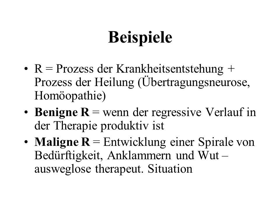 Beispiele R = Prozess der Krankheitsentstehung + Prozess der Heilung (Übertragungsneurose, Homöopathie) Benigne R = wenn der regressive Verlauf in der
