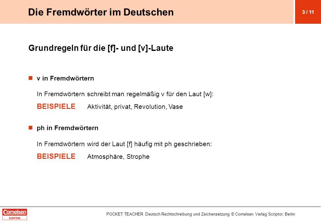 POCKET TEACHER Deutsch Rechtschreibung und Zeichensetzung © Cornelsen Verlag Scriptor, Berlin Grundregeln für die [f]- und [v]-Laute v in Fremdwörtern
