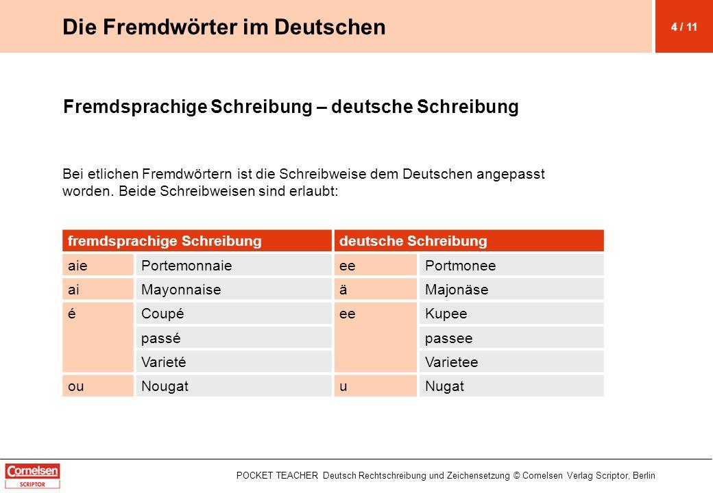 POCKET TEACHER Deutsch Rechtschreibung und Zeichensetzung © Cornelsen Verlag Scriptor, Berlin Fremdsprachige Schreibung – deutsche Schreibung Bei etlichen Fremdwörtern ist die Schreibweise dem Deutschen angepasst worden.