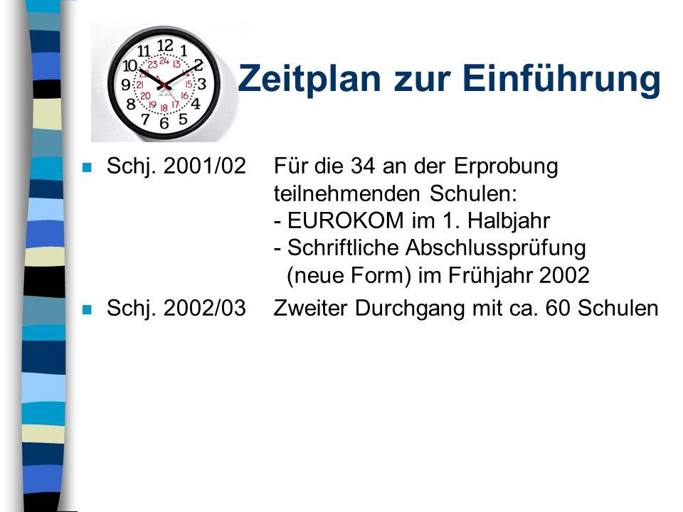 n Schj. 2000/0130 ausgewählte Erprobungsschulen beginnen mit der Vorbereitung in Klasse 9 n Schj. 2000/01Lehrerfortbildungen: - 27.-29. Nov.: Lehrgang