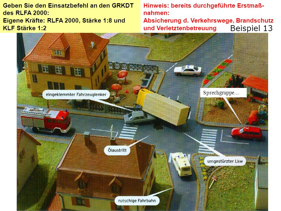 Hinweis: bereits durchgeführte Erstmaß- nahmen: Absicherung d. Verkehrswege, Brandschutz und Verletztenbetreuung Geben Sie den Einsatzbefehl an den GR
