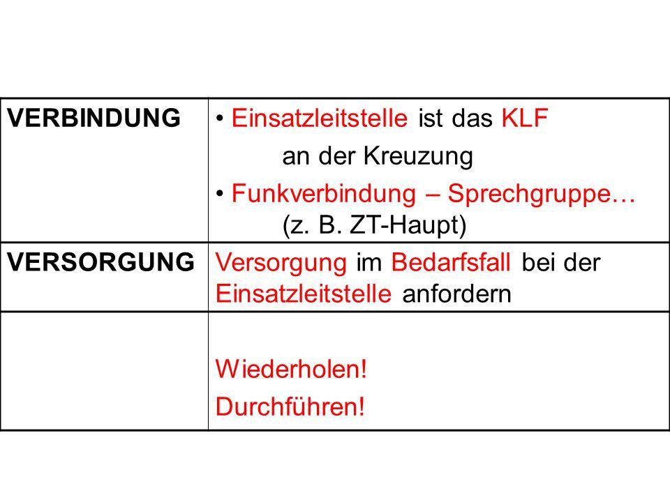VERBINDUNG Einsatzleitstelle ist das KLF an der Kreuzung Funkverbindung – Sprechgruppe… (z. B. ZT-Haupt) VERSORGUNGVersorgung im Bedarfsfall bei der E