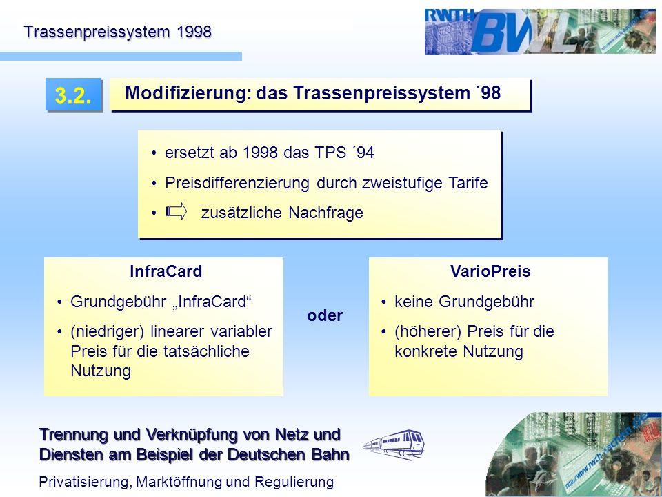 Trennung und Verknüpfung von Netz und Diensten am Beispiel der Deutschen Bahn Privatisierung, Marktöffnung und Regulierung Trassenpreissystem 1998 ers
