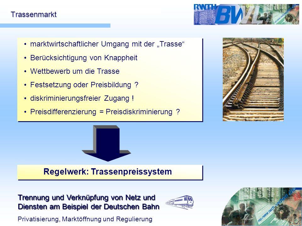 Trennung und Verknüpfung von Netz und Diensten am Beispiel der Deutschen Bahn Privatisierung, Marktöffnung und Regulierung Trassenmarkt marktwirtschaf