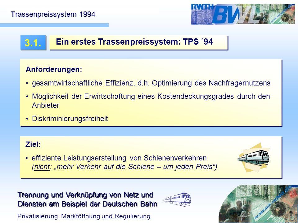 Trennung und Verknüpfung von Netz und Diensten am Beispiel der Deutschen Bahn Privatisierung, Marktöffnung und Regulierung Trassenpreissystem 1994 Ein
